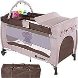 TecTake Cuna infantil de viaje portátil altura ajustable con acolchado para bebé - disponible en diferentes colores - (Marrón Café   No. 402203)