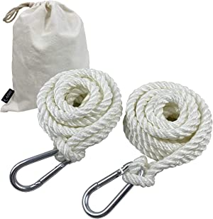 A AIFAMY Terylene Tree Swing Rope Hammock Hanging Straps, 9.8ft with Carabiner Hooks for Replacement, Adjustment or Extension
