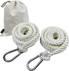 A AIFAMY Cotton Tree Swing Rope Hammock Hanging Straps, 9.8ft with Carabiner Hooks for for Replacement, Adjustment or Extension