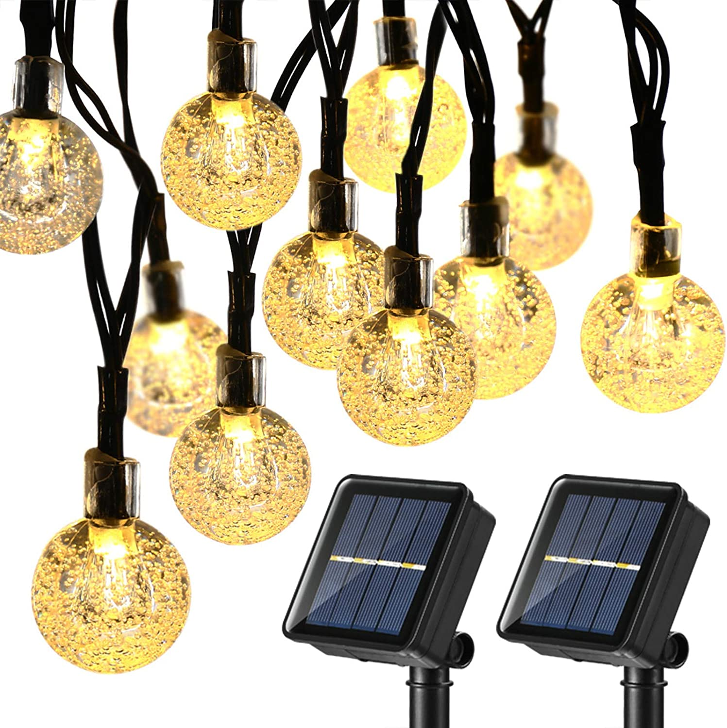 Solar String Lights Outdoor Globe Lights by ICICLE 20ft 30 LED 8 Modes Fair Q!