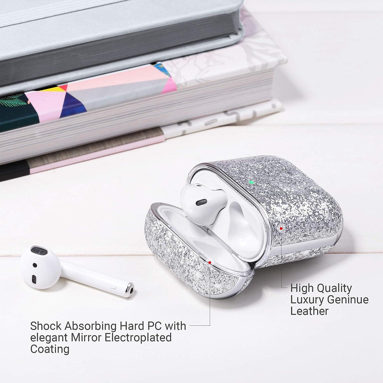 LED Visible en el Frente Cubierta Protectora de Cuero Brillante Estuche de Carga de Tapa Dura para Apple AirPods 1 /& 2 ULAK Funda AirPods 2 /& 1 - Brillo Azul
