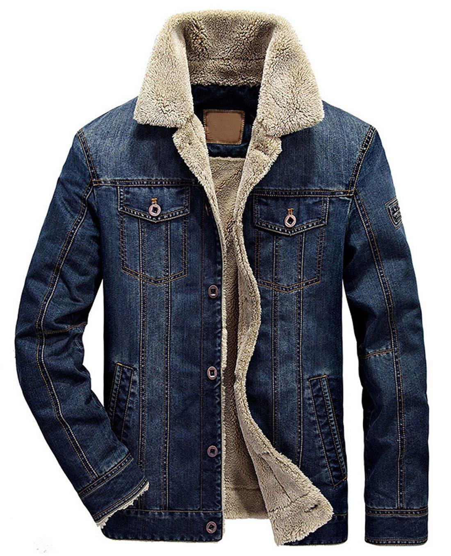 Chouyatou Men's Classic Button Front Rugged Sherpa Lined Denim Trucker Jackets (Medium, Dark Blue)