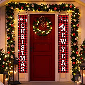 Merry Christmas Banner, Christmas Decorations with Red Black Buffalo Banners, Xmas Hanging Christmas Decor Decorations for The Home Outdoor Indoor Wall Front Door Decor