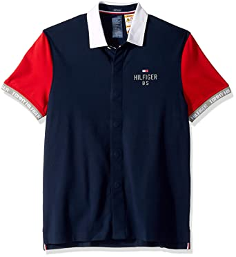 bf95f301 Tommy Hilfiger Men's Adaptive Polo Shirt with Magnetic Buttons Custom Fit,  Blue with Red Sleeves