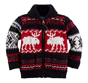 3ca56da84283 Amazon.com  Ralph Lauren Polo Baby Girls Boys Shawl Collar Reindeer ...