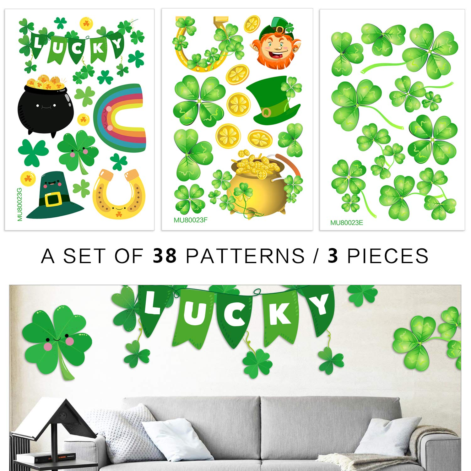Phogary 3 Pack St Patrick's Day Window Clings Shamrock Gold Coin Holiday Stickers 38 Patterns Decal, St Patricks Decorations Party Supplies