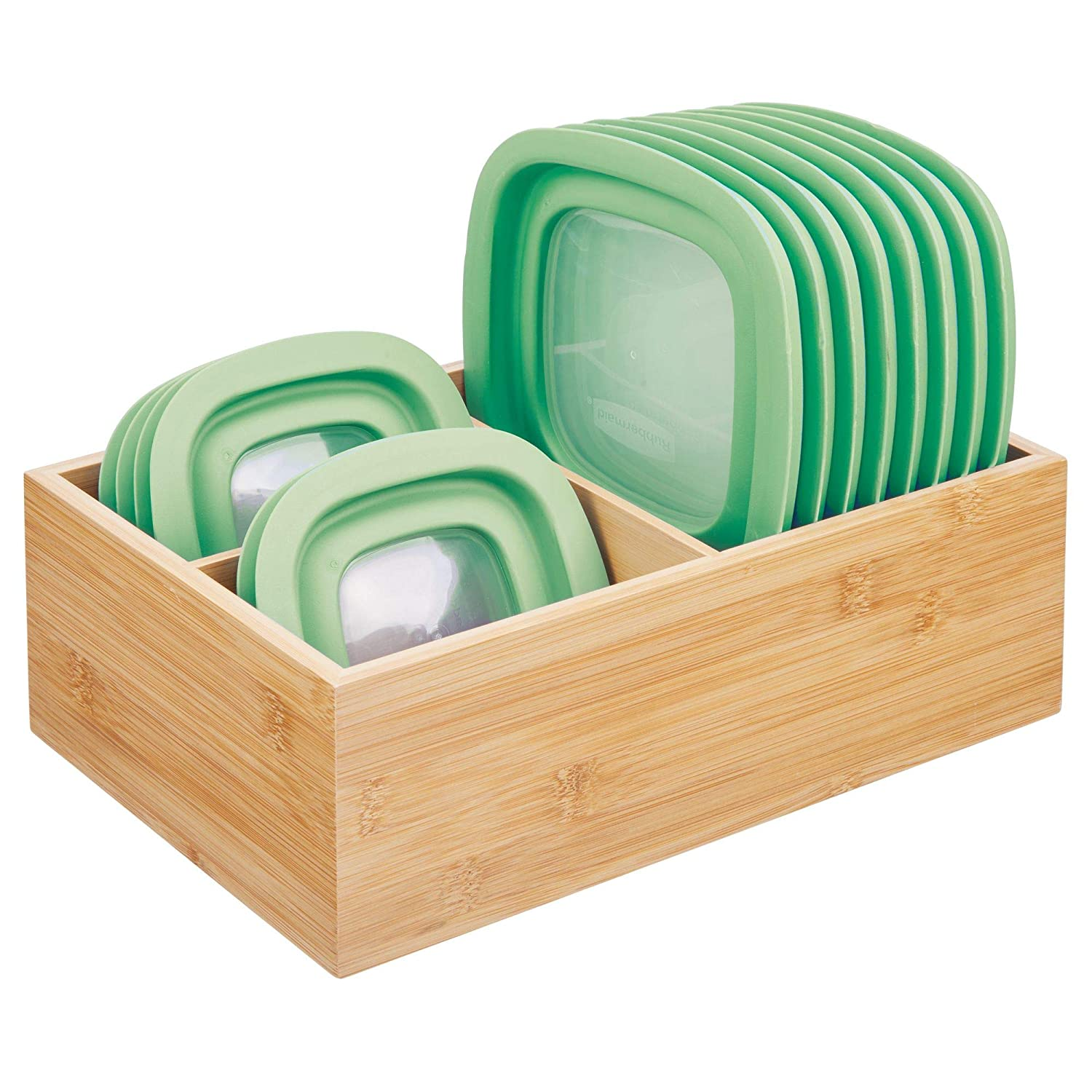 mDesign Bamboo Wood Kitchen Storage Bin Organizer for Food Container Lids and Covers - Use in Cabinets, Pantries, Cupboards - Large Divided Organizer with 3 Sections - Natural