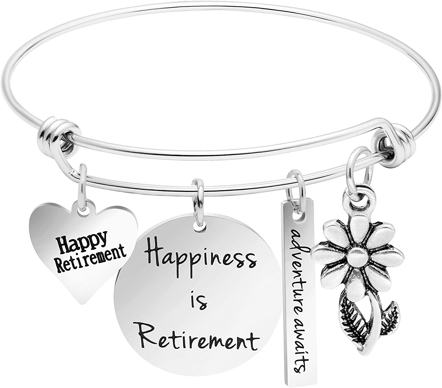 Awegift Happiness is Retirement Bracelet Jewelry Gifts for Women Stainless Steel Charm Bangle