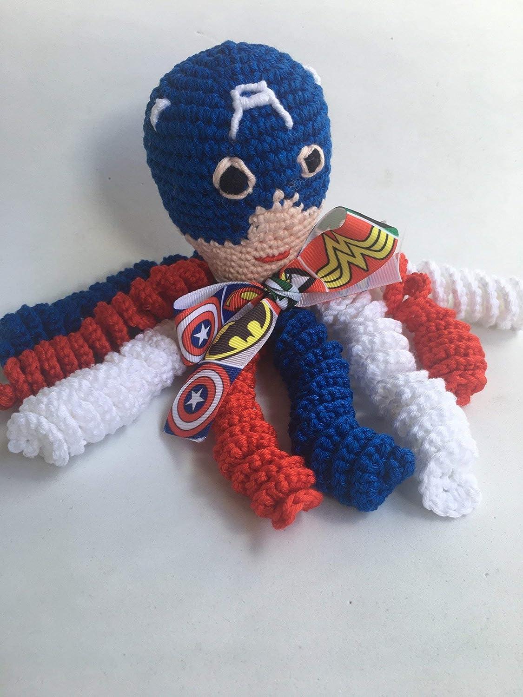 Pulpo Capitán América de crochet para recien nacidos, pulpo amigurumi para bebés.