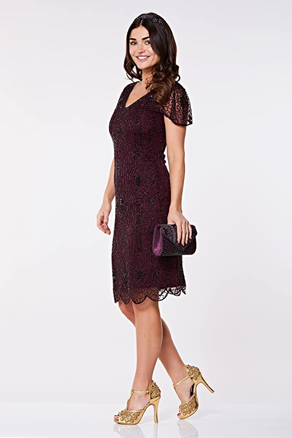 ad90306f47a gatsbylady london Downton Abbey Flapper Dress in Plum - Quality Handmade Flapper  Dresses for Women at Amazon Women s Clothing store