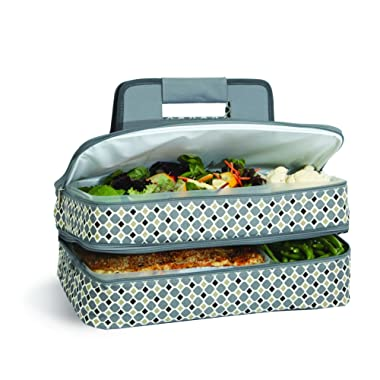 Casserole Carrier 2 level Thermal Insulated Hot and Cold Pot Luck Food Carrier with Bonus Containers by Picnic Plus Grey Mosiac