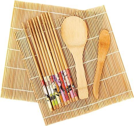 Premium Bamboo Sushi Making Kit Includes 2 Rolling Mats 5 Chopsticks 1 Paddle 1 Sushi Blade 9Pcs//Set Sushi Kit