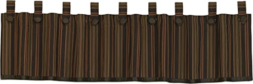 HiEnd Accents Wilderness Ridge Lodge Striped Tab-Top Window Curtain Valance, 18 x 84 , Chocolate, Tan, Burgundy Olive