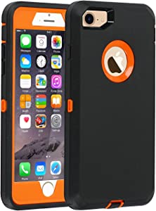 Co-Goldguard Case for iPhone 7 Heavy Duty iPhone 8 Cover Armor 3 in 1 Built-in Screen Protector Rugged Cover Dust-Proof Shockproof Drop-Proof Shell (Black Orange)