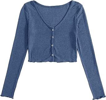 SweatyRocks Women's Casual V Neck Button Front Long Sleeve Crop Top T Shirt