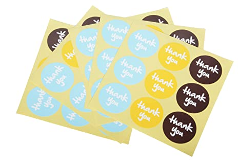 Funcoo – 240 lindas etiquetas adhesivas decorativas con «Thank You» impreso para sello de sobres, pegatinas decorativas para álbumes de recortes, ...