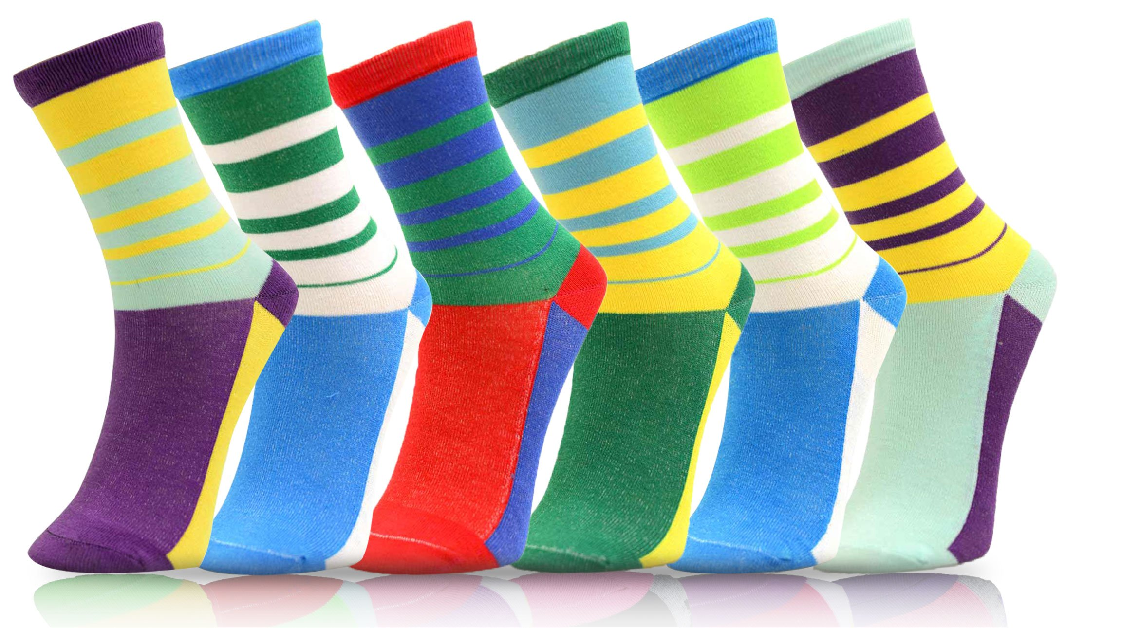 ICONOFLASH Women's Printed Crew Socks 6-Pair Bundle Pack, (Multi Stripes, Size 9-11)