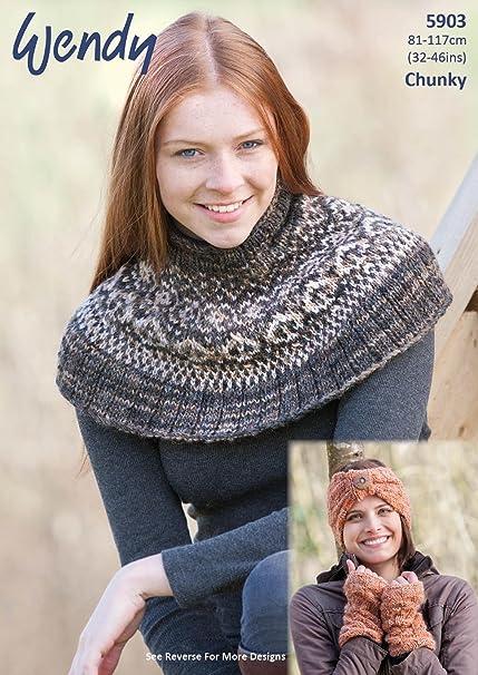 Wendy 5903 Knitting Pattern Fairisle Neck Warmer Hat Headband Wrist