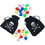 12 Count Pirate Drawstring Bags With 1 Dozen Plastic Jewels