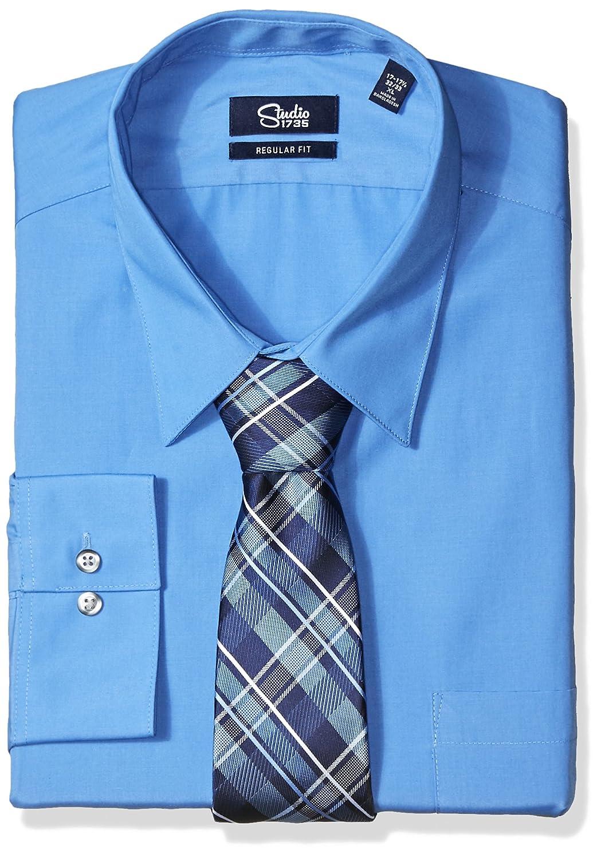 Studio 1735 Mens Dress Shirt Combo Plaid Tie Reg Fit At Amazon Mens