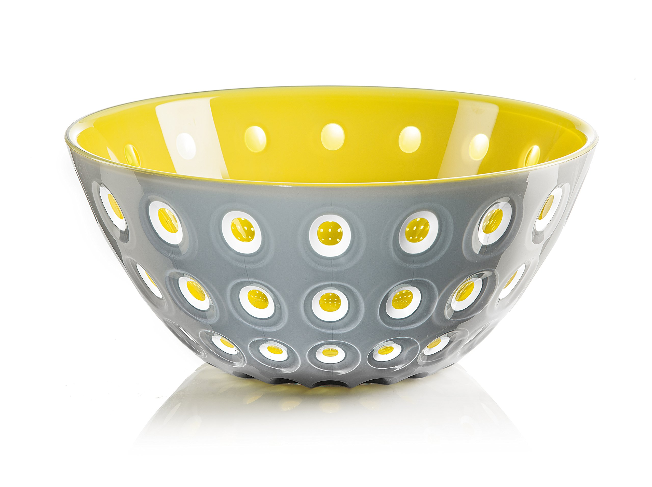 Guzzini Le Murrine Bowl, 9-3/4'' x 4-1/4'', Unique Serving Dish or Centerpiece, 91-Fluid Ounces, Made in Italy, Grey, White, Yellow