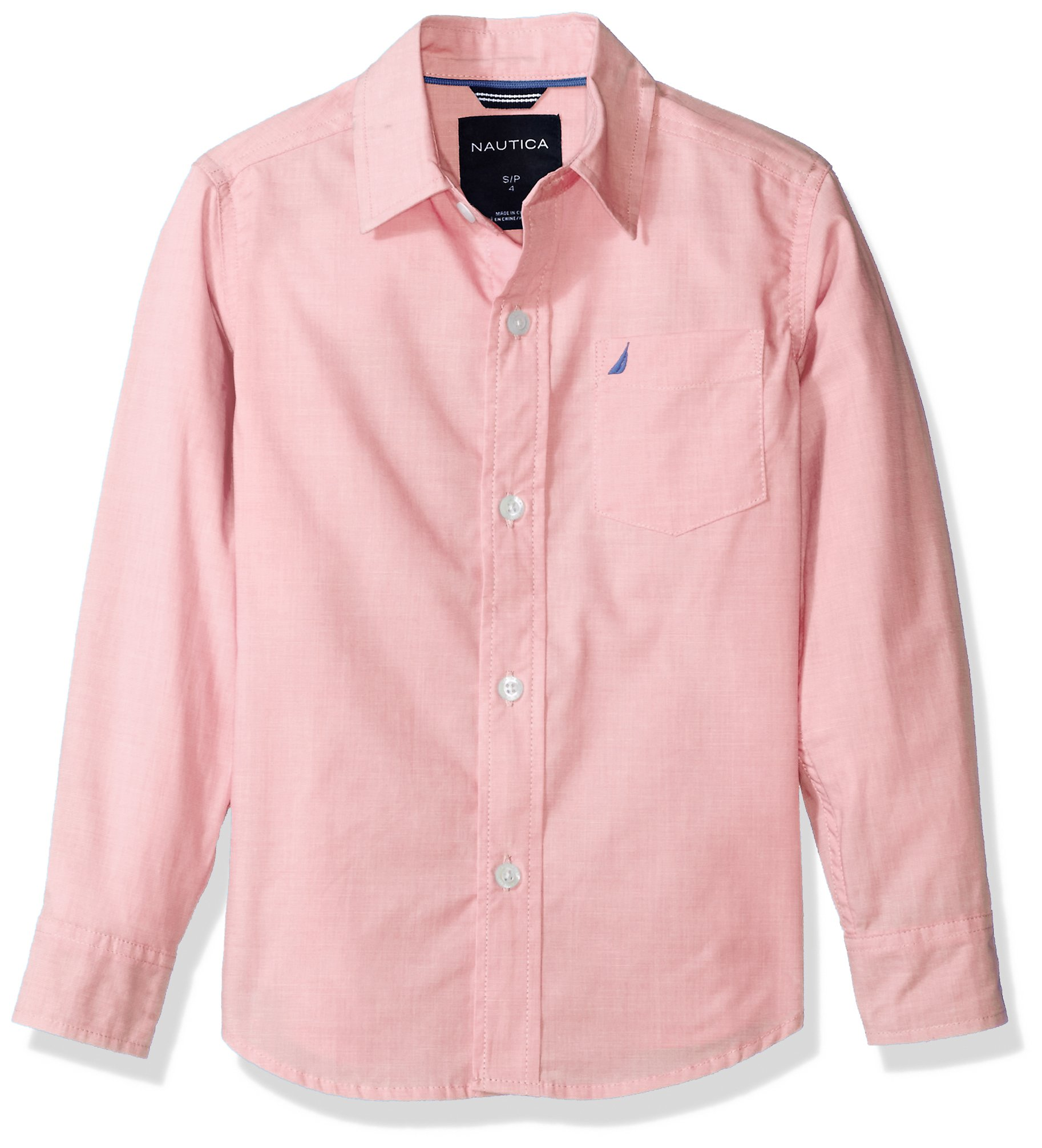 Nautica Boys' Little Long Sleeve Gingham Woven Shirt, Mini Guava, Extra Large (7X)