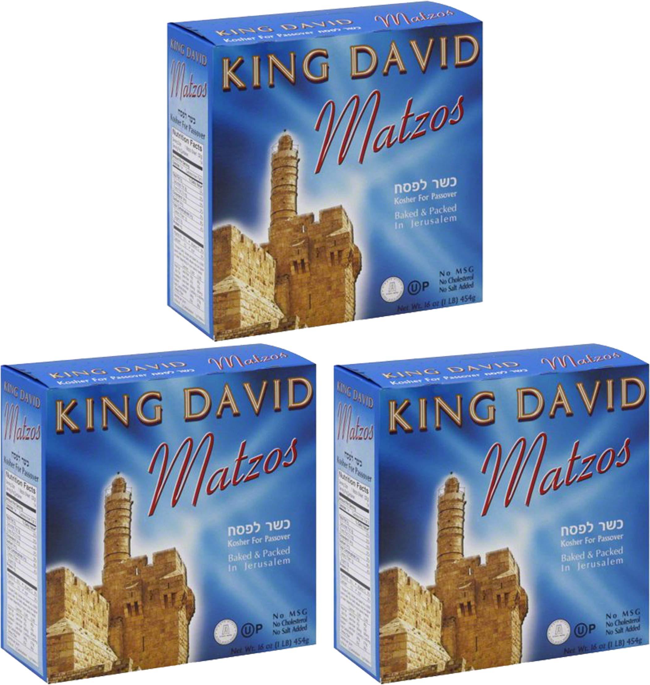Matzo Passover Matzah Israeli Kosher For Passover King David Matzos Three Individual One Pound Boxes (Total of 3 LBS) by King David