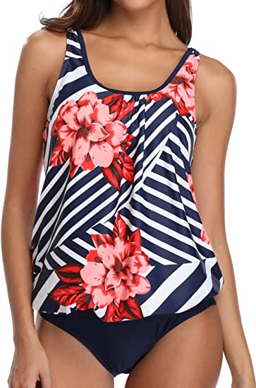 Yonique Womens Two Pieces Ruched Tankini Swimsuit One Shoulder Ruffle Swimwear