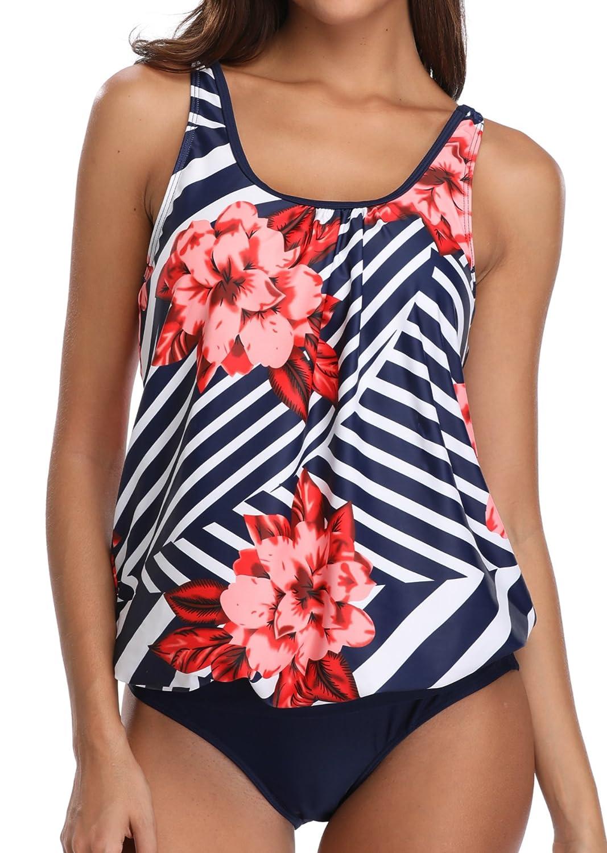 Yonique Women 2 Piece Tankini Swimsuit Floral Blouson Bathing Suit Set Red S