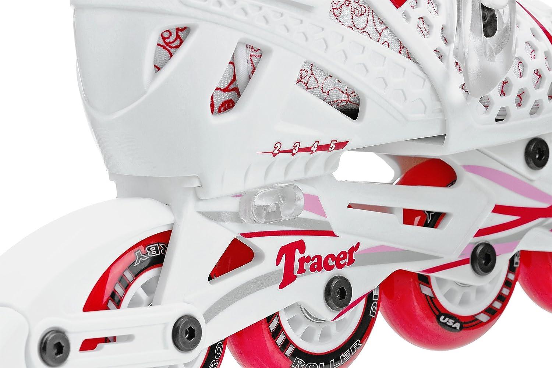 Roller skates tcg - Amazon Com Roller Derby Girls Tracer Adjustable Inline Skate White Red Childrens Inline Skates Sports Outdoors