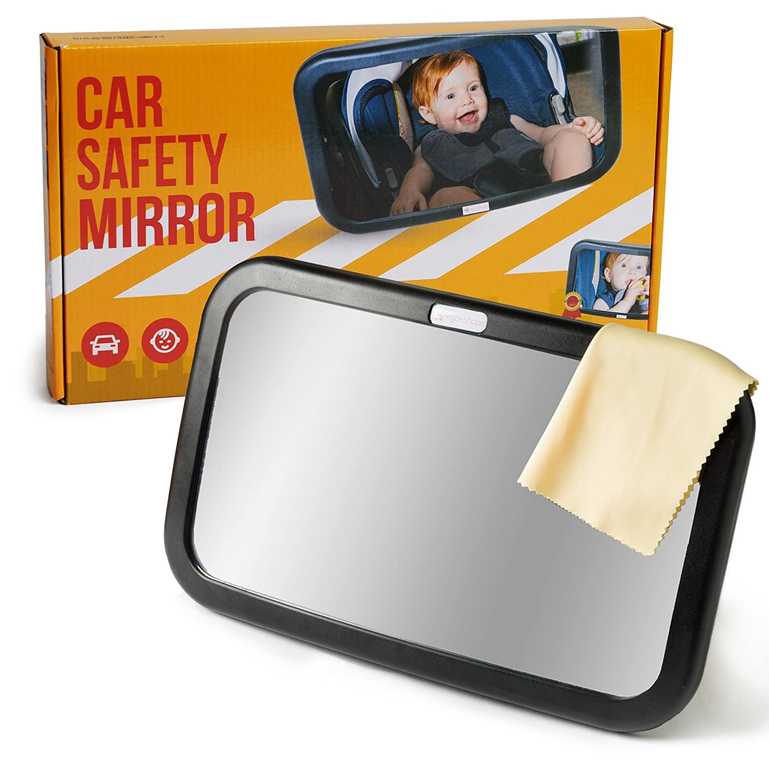 ARGO-SHOPS Baby- baby mirrors - Baby mirror car .car seat mirror . backseat mirror for baby. 2 Free Bonuses: a Cleaning cloth + eBook.