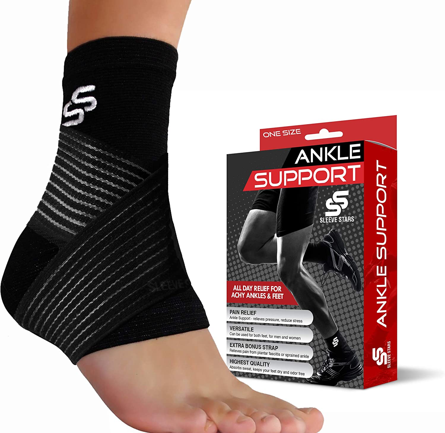 Sleeve Stars Ankle Brace for Plantar Fasciitis and Foot Support - Ankle  Wrap for Sprain, Achilles, Tendonitis & Heel Pain Relief for Women & Men:  Amazon.co.uk: Sports & Outdoors