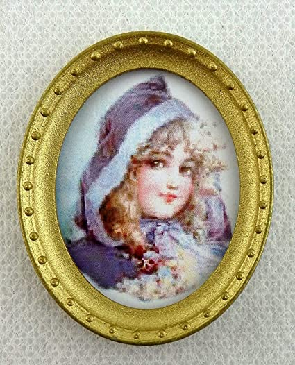 Melody Jane Dolls House Miniature Lady Portrait Picture in Oval Gold Frame A