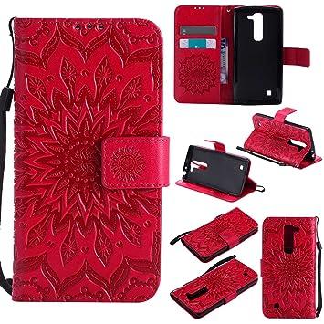 pinlu Flip Funda de Cuero para LG G4c(5 pollice)/LG Magna Carcasa con Función de Stent y Ranuras con Patrón de Girasol Cover (Rojo)