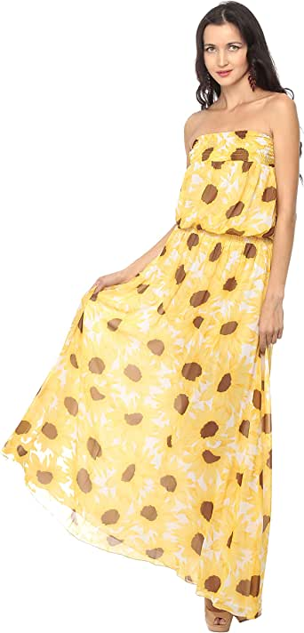 Cocum Flynn Maxi Dress For Women - 12 Uk, Yellow