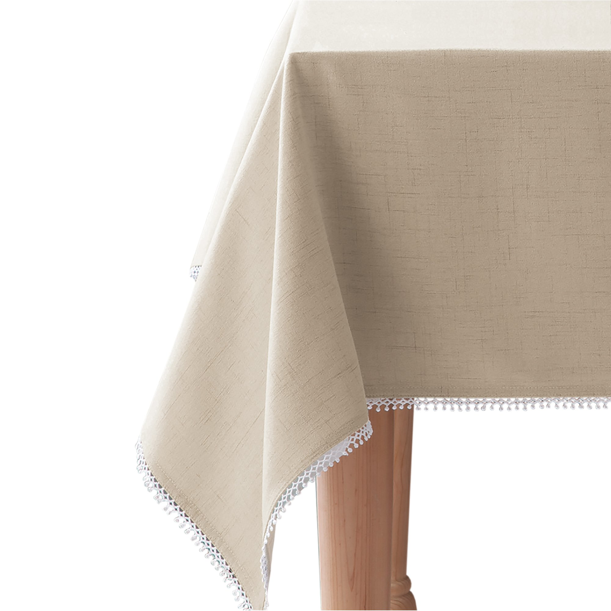 Lenox French Perle Solid 60''x120'' rectangle Tablecloth, Natural Linen
