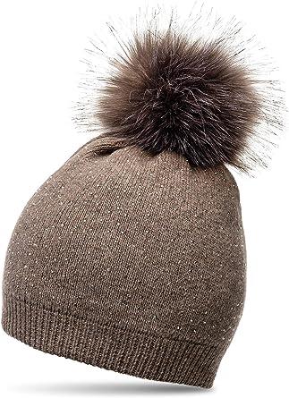 CASPAR MU191 Women Warm Winter Knitted Bobble Hat Pom Pom Rhinestones Crystals