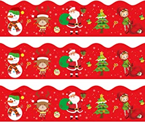 Santa Claus Reindeer Snowman Elf Scalloped Bulletin Board Borders for Christmas Classroom Decoration 36 Feet