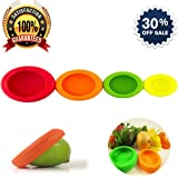 Reusable Silicone Food Savers and Food Storage Covers Set of 4 Perfect For Saving Second Half Of Your Fruits And Vegetables