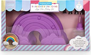 Handstand Kitchen 7-piece Rainbow Shaped Real Cake Baking Set with Recipes for Kids