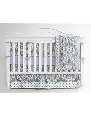 7 Pieces Set Grey Purple Floral Baby Crib Nursery Bedding Set with Bumper