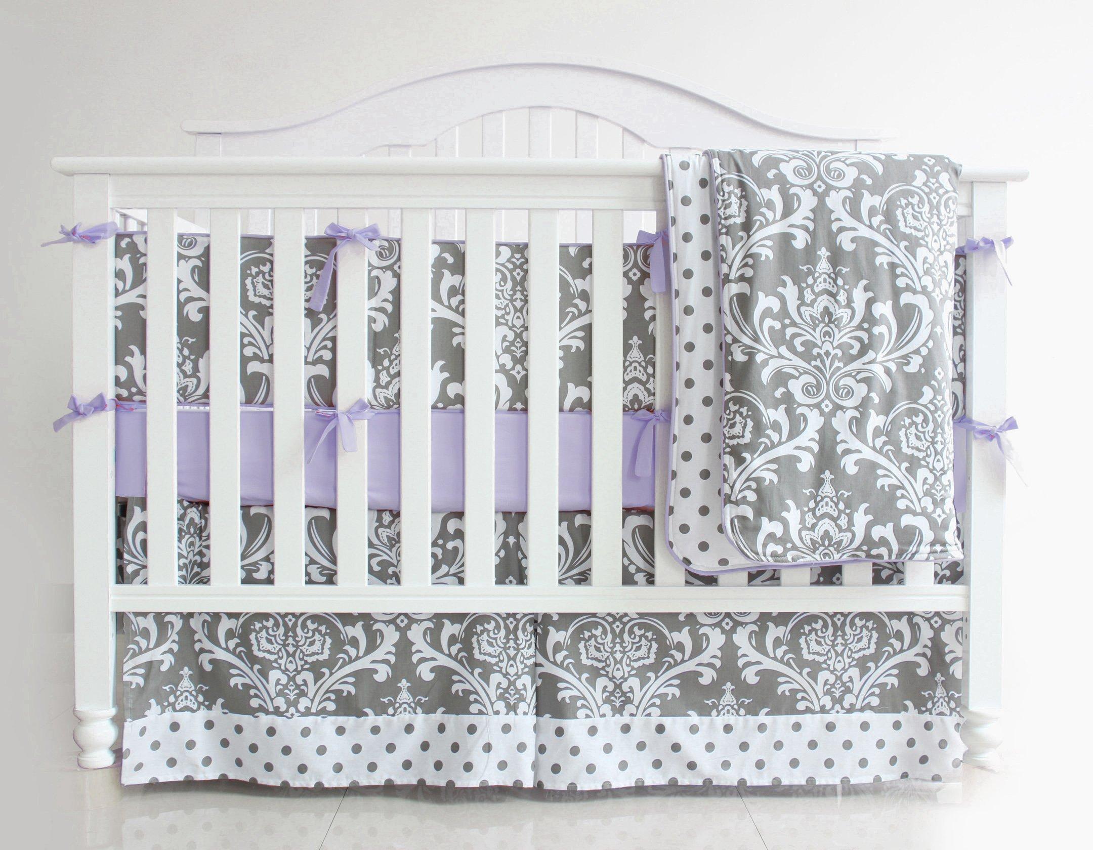 3 Pieces Set Grey Purple Floral Baby Crib Nursery Bedding Set (Purple)