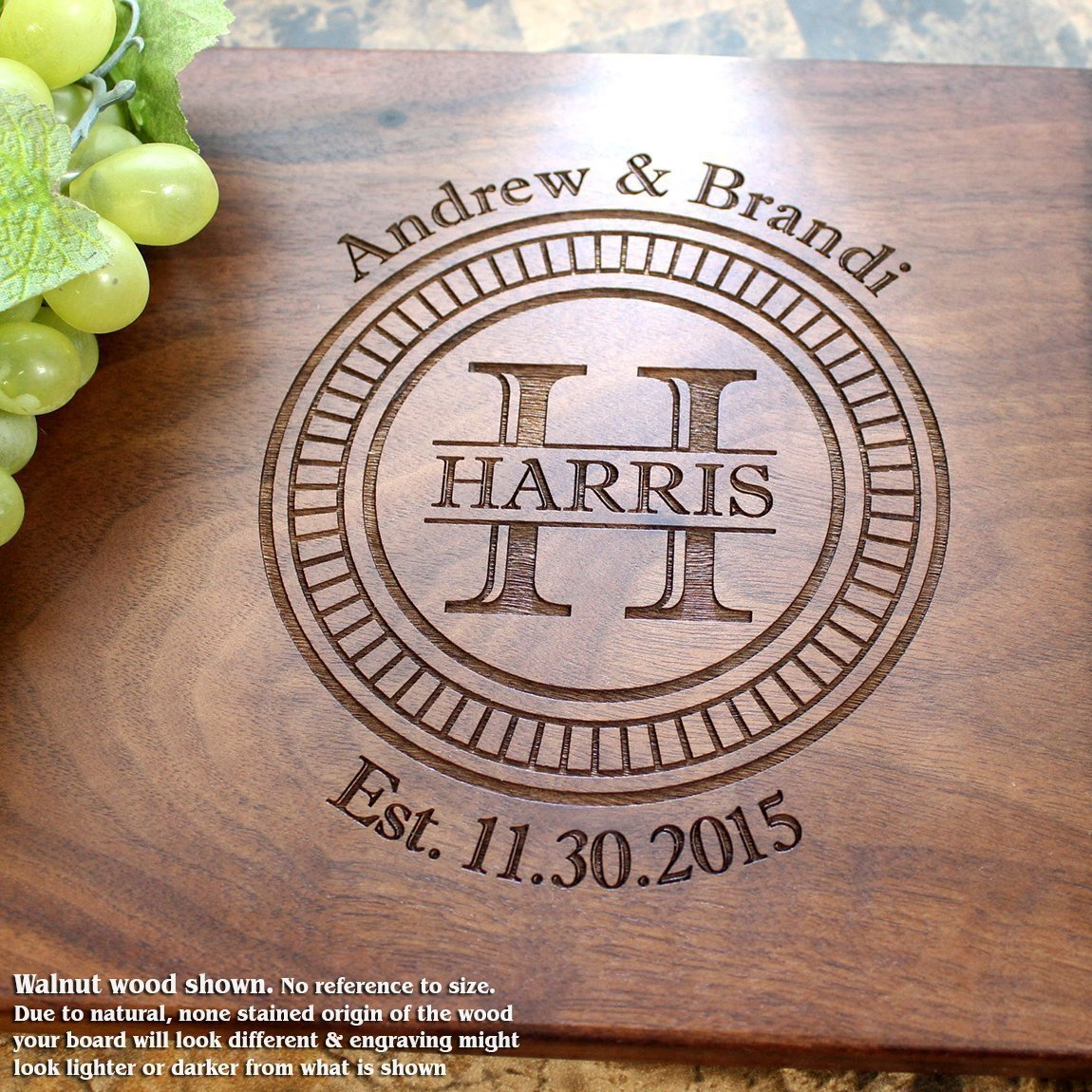 Personalized Cutting Board, Custom Keepsake, Engraved Serving Cheese Plate, Wedding, Anniversary, Engagement, Housewarming, Birthday, Corporate, Closing Gift #006