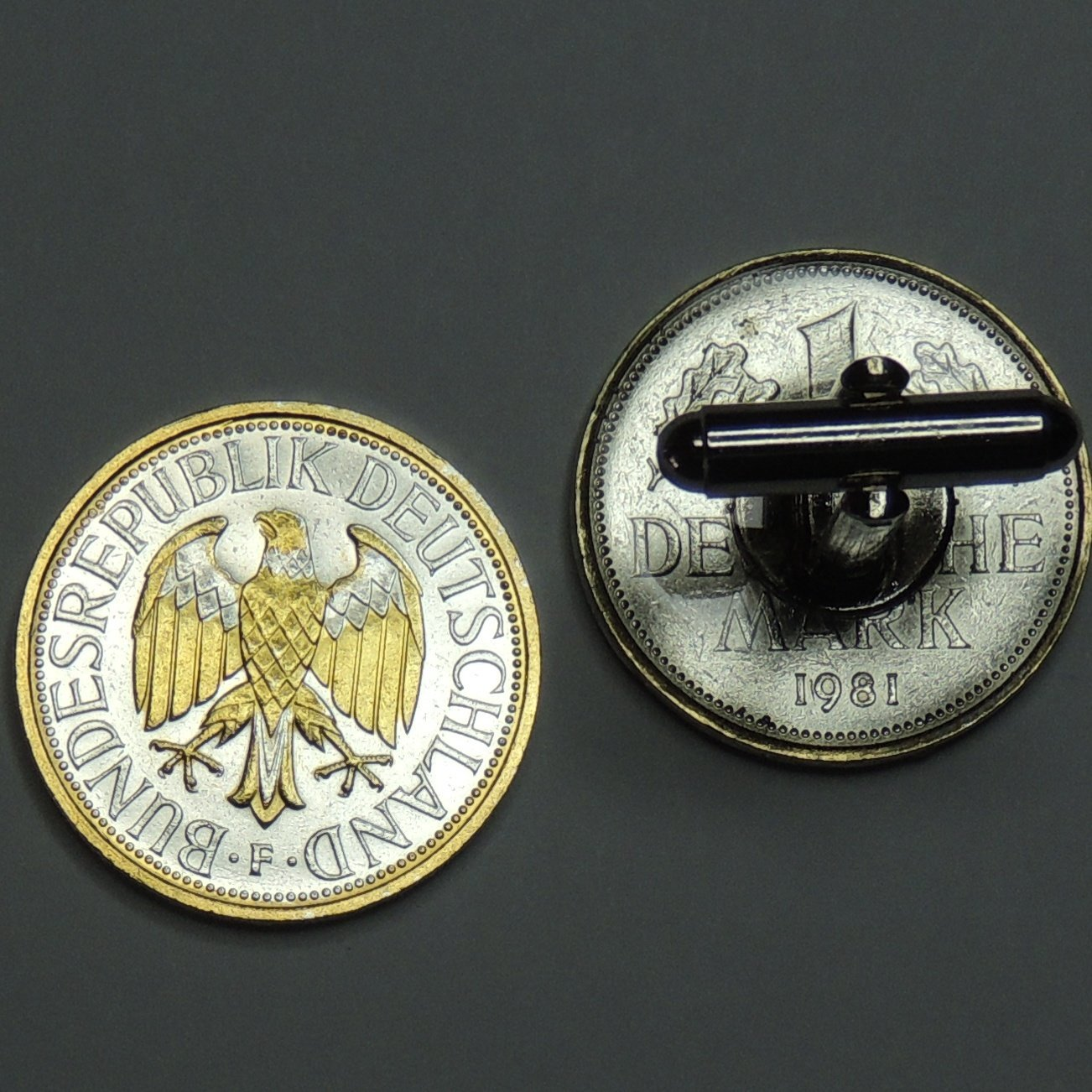 German1 Mark Eagle - 2 Toned(Uniquely Hand Done) Gold & Silver coin cufflinks for men - men's jewelry men's accessories for him groomsmen