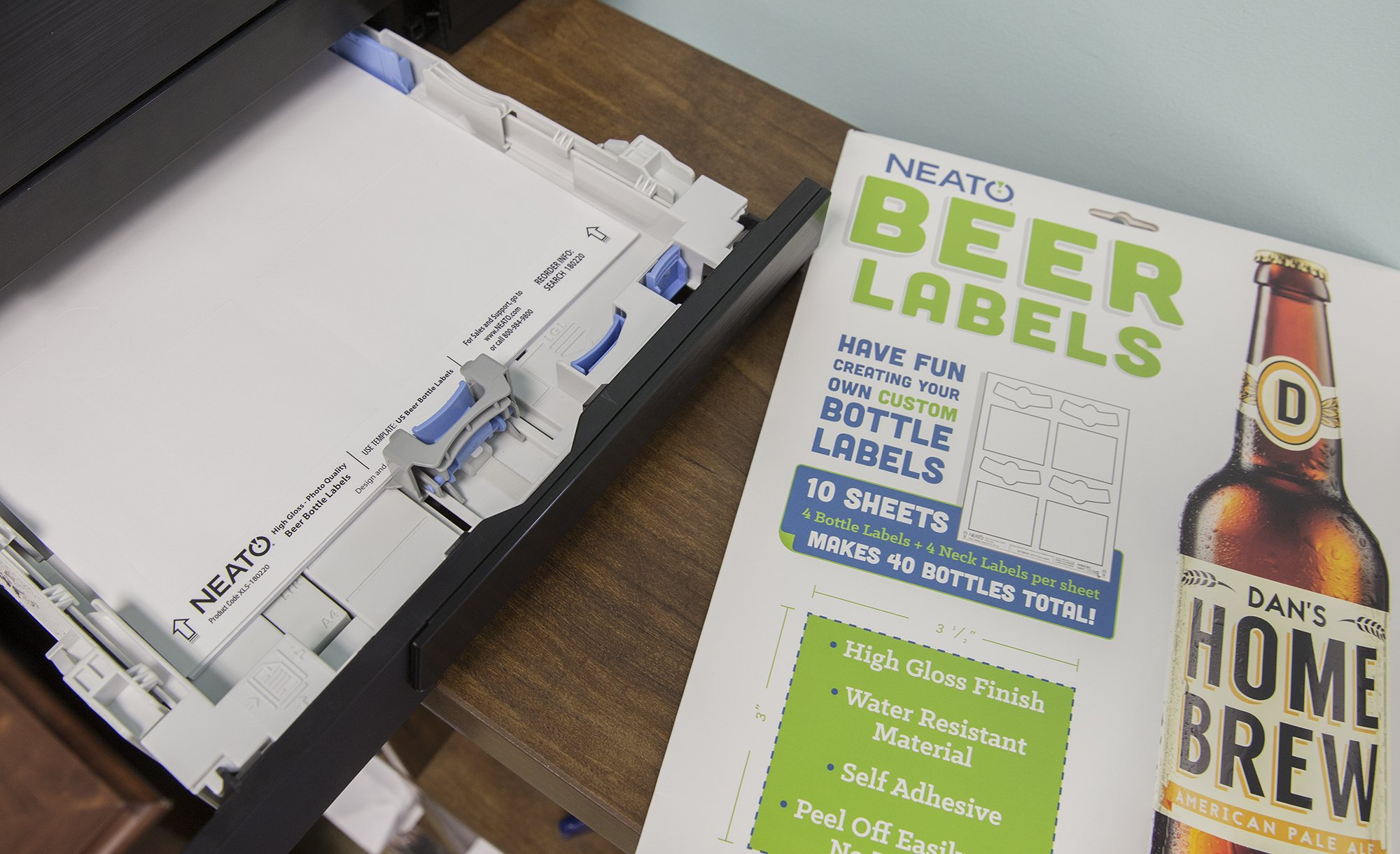 Neato Blank Beer Bottle Labels - 40 pack - Water Resistant, Vinyl, For InkJet Printers by Neato (Image #4)