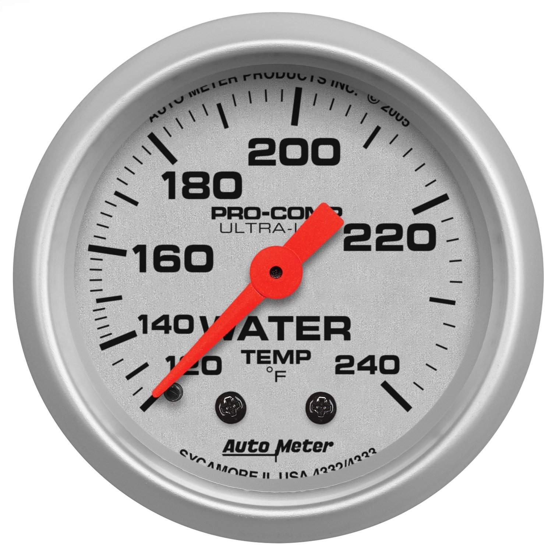 Auto Meter 4332 Ultra-Lite 2-1//16 120-240 F Mechanical Water Temperature Gauge