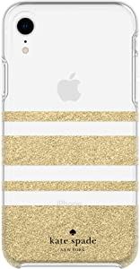 Kate Spade New York Phone Case for Apple iPhone XR Protective Phone Cases with Slim Design Drop Protection and Floral Print, Charlotte Stripe Gold Glitter/Clear
