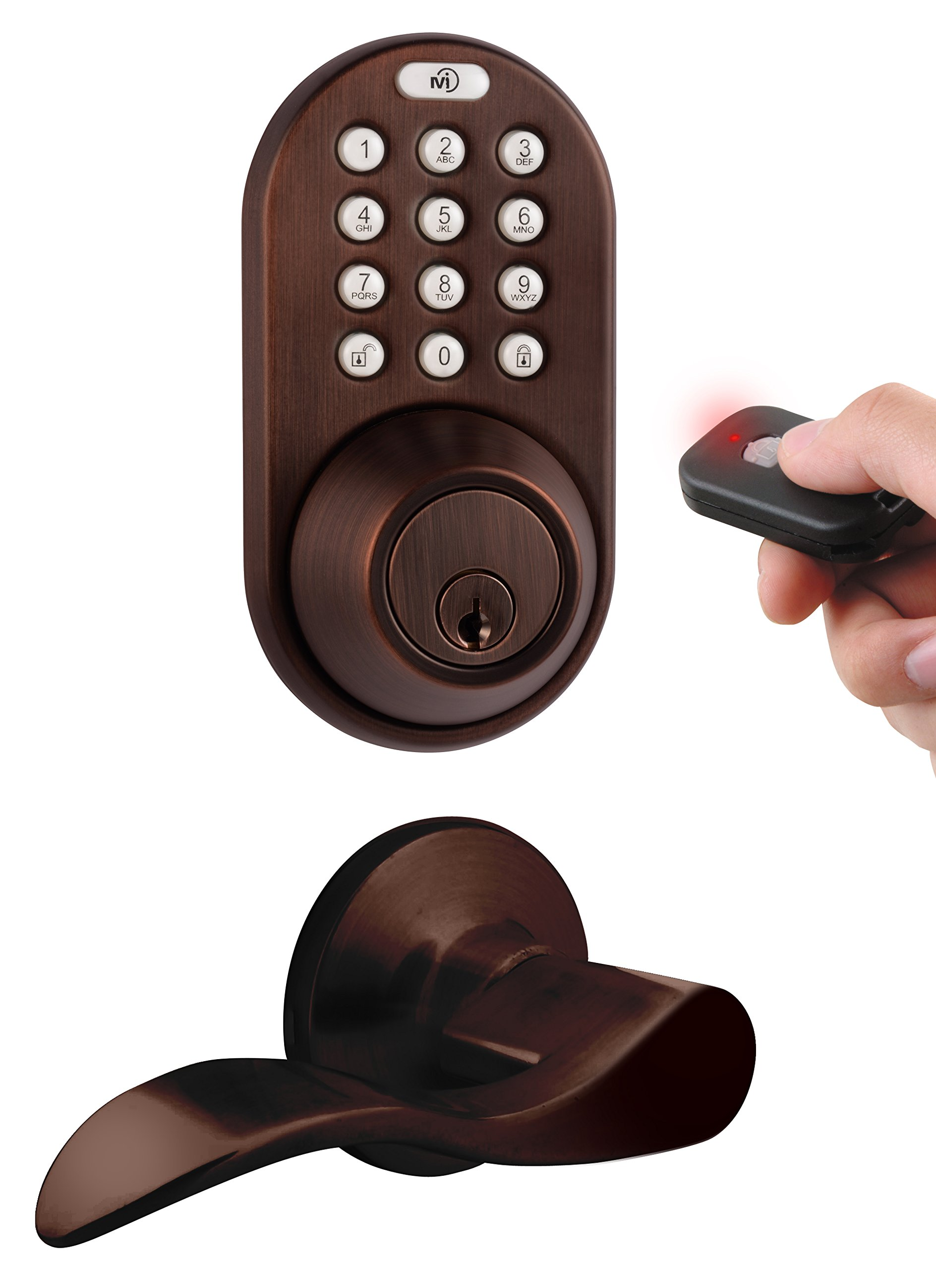MiLocks XFL-02OB Digital Deadbolt Door Lock and Passage Lever Handle Combo with Keyless Entry via Remote Control and Keypad Code for Exterior Doors, Oil Rubbed Bronze
