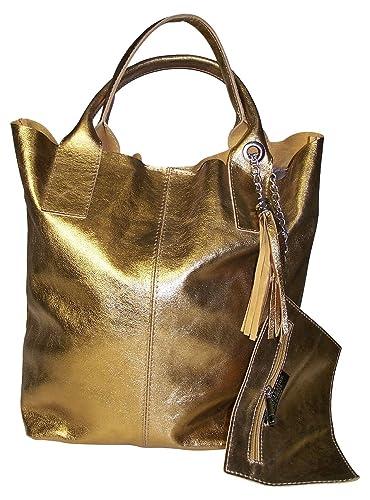 Fronhofer goldene Shopper, Beuteltasche Leder gold
