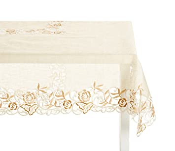 Ecru Embroidered And Cutwork Tablecloth. 100% Polyester. 80 Inch Square.  One Piece